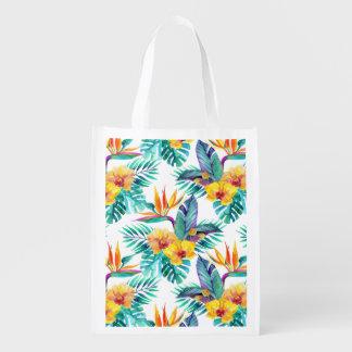 Oiseau du paradis et du motif d'orchidée sac réutilisable
