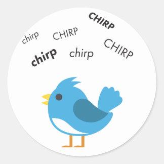 Oiseau Emoji mignon de gazouillement Sticker Rond