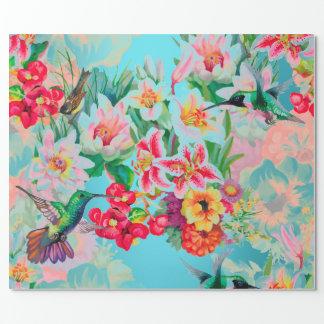 Oiseau en bon état floral de pastel de rose de papier cadeau noël