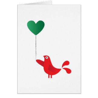 Oiseau et ballon folkloriques de coeur cartes