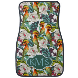 Oiseau et monogramme exotique du motif de fleur | tapis de sol