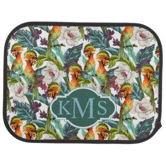 Oiseau et monogramme exotique du motif de fleur | tapis de voiture