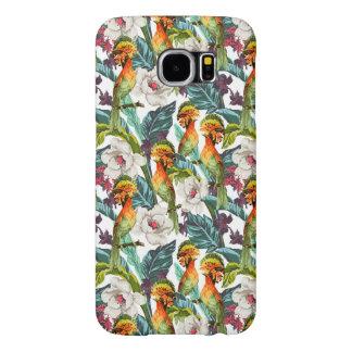 Oiseau et motif de fleur exotique
