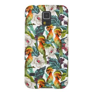 Oiseau et motif de fleur exotique coques pour galaxy s5