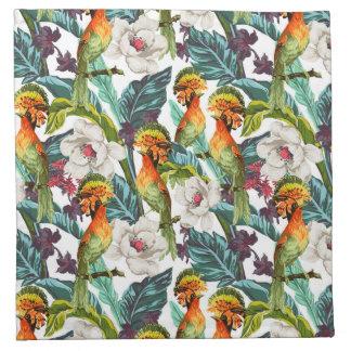 Oiseau et motif de fleur exotique serviette en tissu