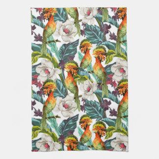 Oiseau et motif de fleur exotique serviette pour les mains