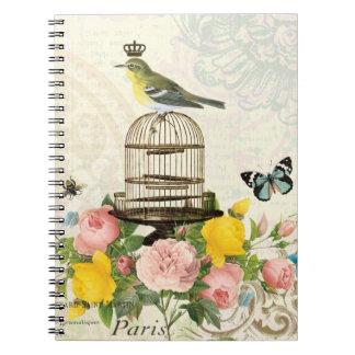 Oiseau français vintage et carnet de cage à oiseau