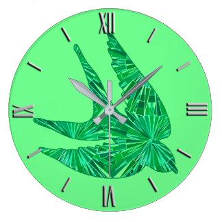 Oiseau géométrique moderne, jade et vert vert grande horloge ronde