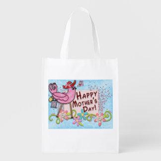 Oiseau heureux du jour de mère sacs d'épicerie réutilisables