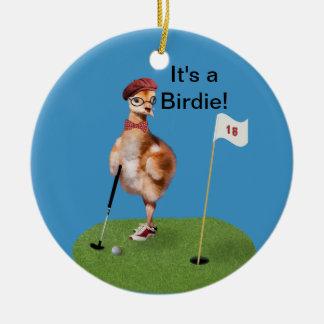 Oiseau humoristique jouant au golf, texte ornement rond en céramique
