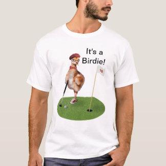 Oiseau humoristique jouant au golf, texte t-shirt