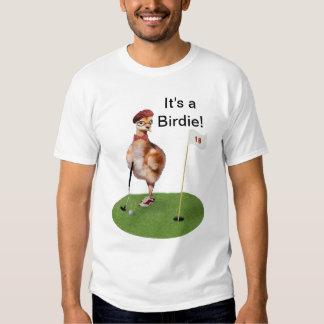 Oiseau humoristique jouant au golf, texte t-shirts