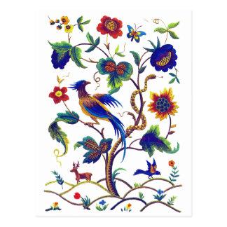 Oiseau Jacobean de Beautful de broderie de paradis Cartes Postales