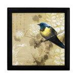 Oiseau jaune bleu de grive - art de peinture chino coffrets cadeaux