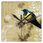 Oiseau jaune bleu de grive - art de peinture chino horloge murale