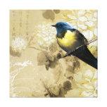 Oiseau jaune bleu de grive - art de peinture chino toile tendue sur châssis
