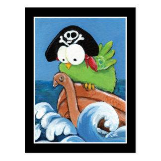 Oiseau lunatique de pirate dans une carte postale