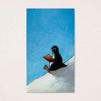 Oiseau mignon d'amusement d'art de pingouin dans cartes de visite