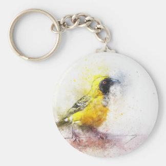 oiseau mignon de couleur d'eau porte-clé rond