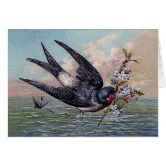 Oiseau mignon d'hirondelle de rouge bleu et jolies carte de vœux
