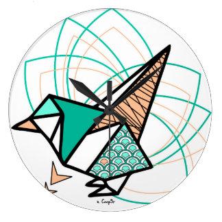 Oiseau origami grande horloge ronde