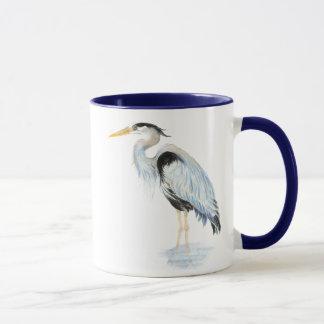 Oiseau original de héron de grand bleu d'aquarelle mug