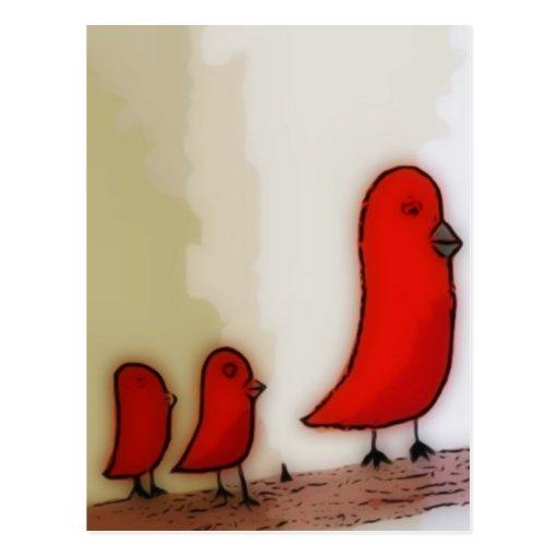 Oiseau rouge avec l'art de bébés carte postale