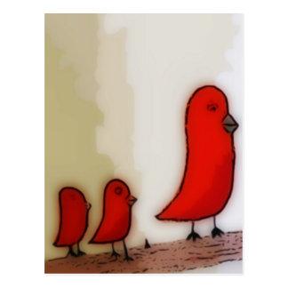Oiseau rouge avec l'art de bébés cartes postales