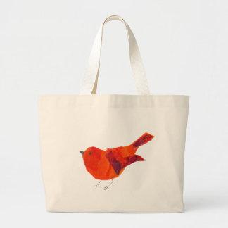 Oiseau rouge mignon grand sac
