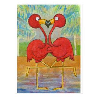 Oiseau tropical de plage de couples de flamant carte postale