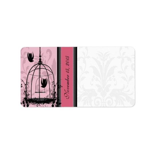 Oiseau vintage de rose de cage et points noirs de étiquettes d'adresse