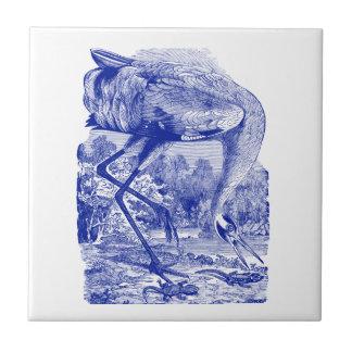 Oiseau vintage dessinant la grue de huée du bleu | petit carreau carré