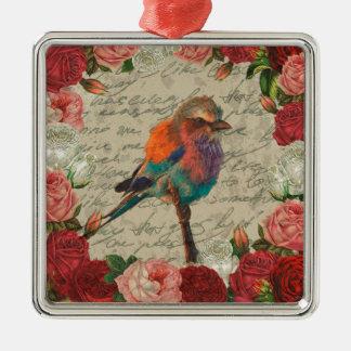 Oiseau vintage ornement carré argenté