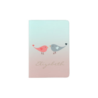 Oiseaux adorables dans l'amour - personnalisé protège-passeport