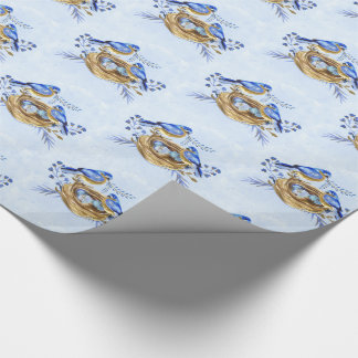 Oiseaux bleus avec le nid des oeufs dans papiers cadeaux