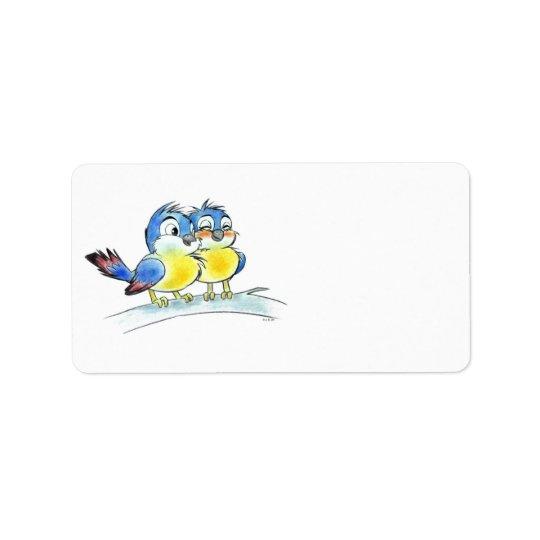 Oiseaux bleus étiquettes d'adresse