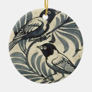 Oiseaux bleus (la semaine sur le papier) ornement rond en céramique