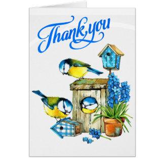 Oiseaux bleus mignons de carte de remerciements de