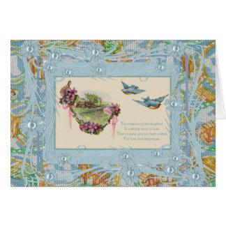 Oiseaux bleus vintages de carte meilleurs voeux