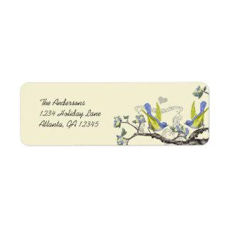 Oiseaux bleus vintages jaunes et étiquettes de