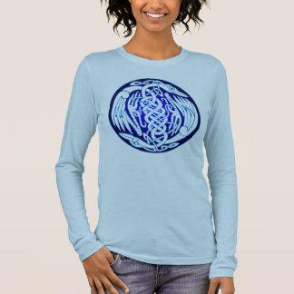 Oiseaux celtiques de paix (version bleue) t-shirt à manches longues