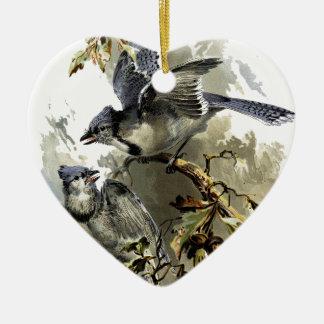 Oiseaux chanteurs ornement cœur en céramique