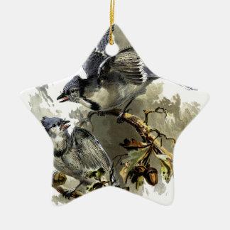 Oiseaux chanteurs ornement étoile en céramique