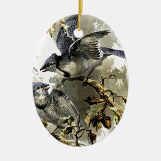 Oiseaux chanteurs ornement ovale en céramique