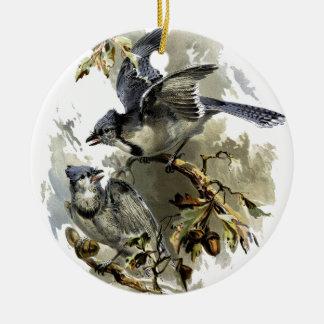 Oiseaux chanteurs ornement rond en céramique