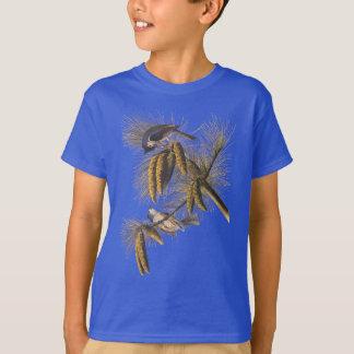 Oiseaux crêtés d'Audubon de mésange avec Pinecones T-shirt