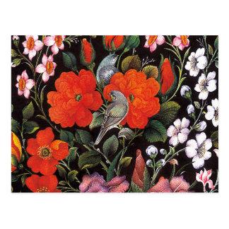 Oiseaux dans des fleurs rouges art oriental carte postale