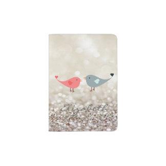 Oiseaux dans l'amour, scintillant, Bokeh - Protège-passeport
