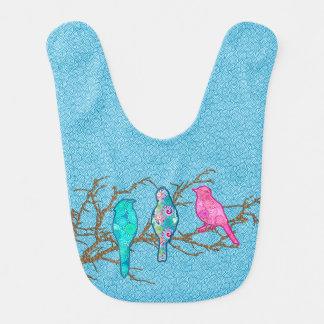 Oiseaux d'Applique sur une branche, bleu de ciel Bavoirs Pour Bébé