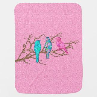 Oiseaux d'Applique sur une branche, multi rose Couverture De Bébé